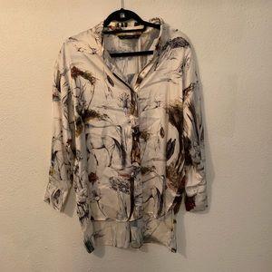 Zara woodland pattern silk blouse